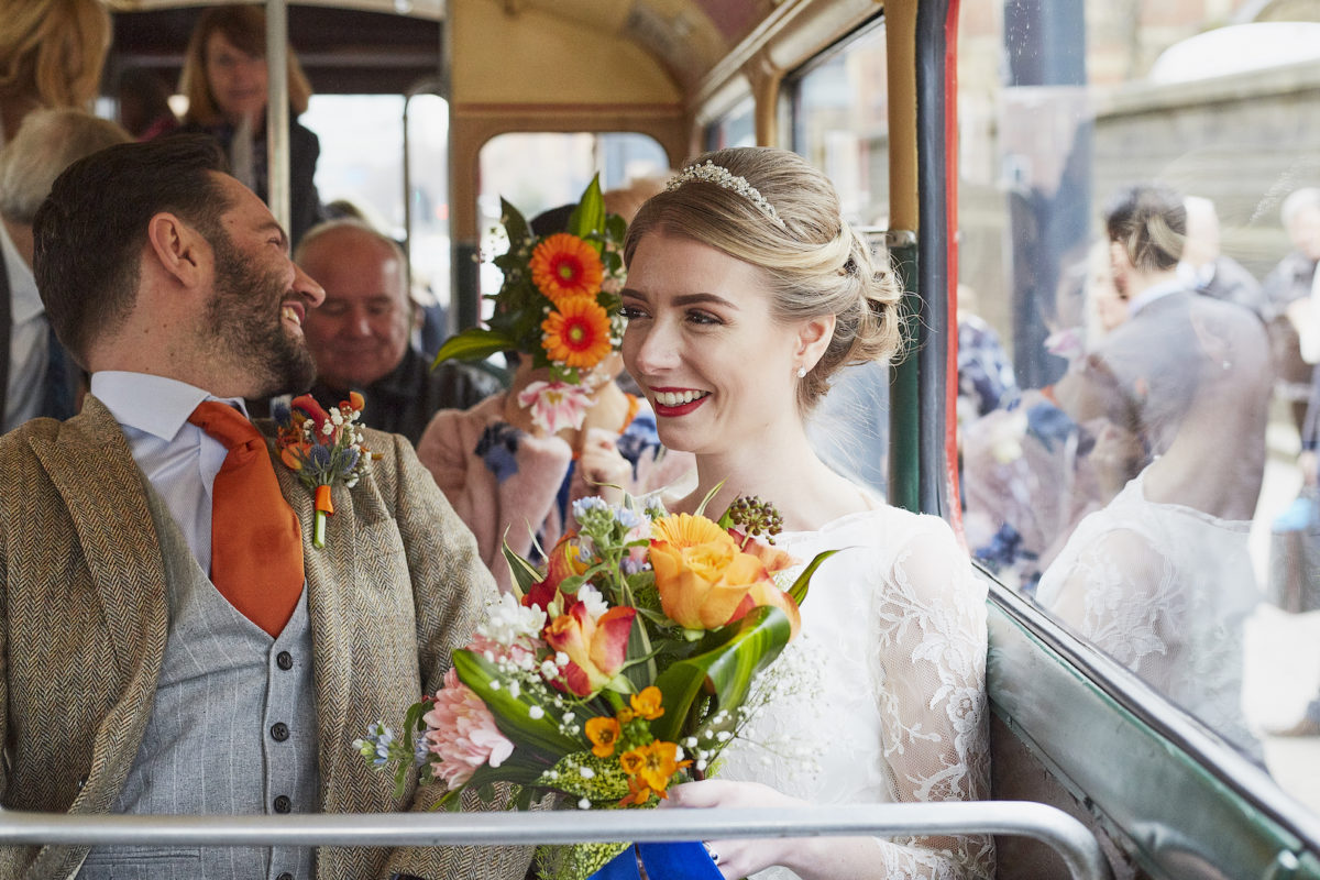 bride & groom on bus